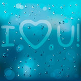 With Love on rain. With happy Love on rain Stock Images
