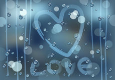 Love on a rainy glass Royalty Free Stock Photo