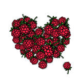 Love raspberry. Heart sketch for your design Royalty Free Stock Photography