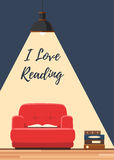 Love reading book concept. Red chair with an open book under the lamp ligh. Vector illustration flat style poster, web banner or flyer Stock Images