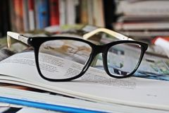 Glasses with books royalty free stock photo