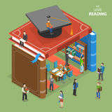 We love reading isometric flat  concept. Royalty Free Stock Photo