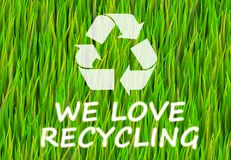 We Love Recycling. Green Now Abstract Background Stock Illustration