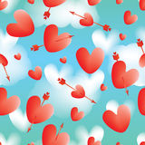 Love red arrow cloud sky seamless pattern. This illustration is abstract take a chance shoot the love, many loves floating at cloud sky background with seamless Stock Photography