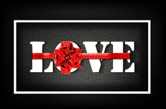 Love with red big bow on a black background with glow and glitter. A sign expressing love. Black letters tied with ribbon. Greeting card for the holiday Vector Illustration