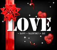 Love with red big bow on a black background with glow and glitter. A sign expressing love. White letters tied with ribbon. Beautiful luxury holiday background Vector Illustration