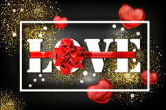 Love with red big bow on a black background with glow and glitter. A sign expressing love. White letters tied with ribbon. Greeting card for the holiday Royalty Free Illustration