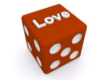 Love on red dice Royalty Free Stock Images
