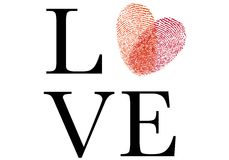 Love with red fingerprint heart, vector Stock Photo