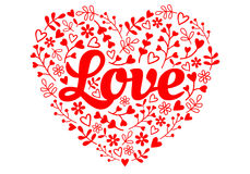 Love red flower heart, vector Stock Photos