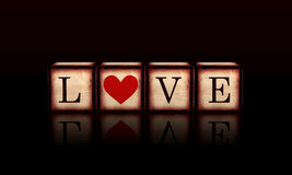 Love with red heart in 3d wooden cubes Stock Photo
