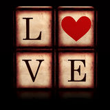 Love with red heart in 3d wooden cubes Stock Images