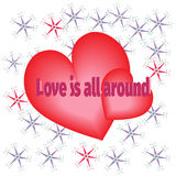 Love red heart background in vector. Love heart background in vector Stock Image