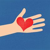Love red heart in hand to woman. On grunge denim background . Vector illustration Royalty Free Stock Photo