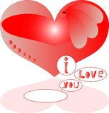 Love red heart with text Stock Photos