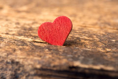 Love: Red Heart on Wood Stock Photos