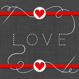 LOVE red hearts in love Valentine`s day card Stock Photos