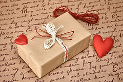 Love red hearts, Valentines Day.Handcraft gift box Stock Photography