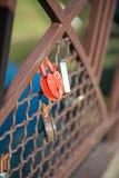 Love red romance lock on the bridge stock images