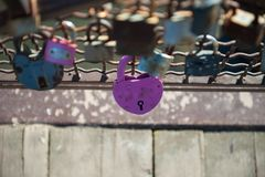 Love red romance lock on the bridge stock image