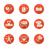 Love red round flat icons set. White silhouette symbols of love. Passion concept. Valentines Day in Paris. Romantic mailing. Set of red round icons with long Royalty Free Stock Photography