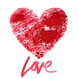 Love. Red stenciled heart Stock Images