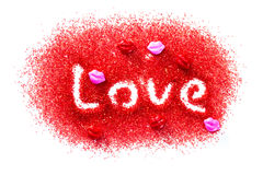 Love in red sugar Royalty Free Stock Photo
