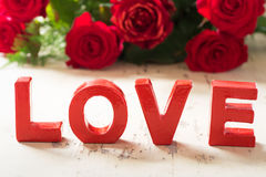 Love Red Valenine Background with Roses Stock Photography