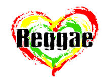 We love Reggae Music. Black Reggae text with heart - green, red and yellow royalty free illustration