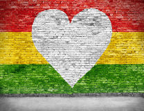 Love for reggae. Music loving painted over white brick wall Royalty Free Stock Photos