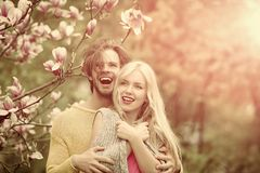 Love and relations. Friendship and ce, spa and nature, beauty and fashion, spring and blossom, couple in love, men and woman stock image