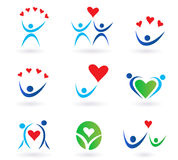 Love, relationship and community icons stock illustration