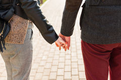 Love, relationship, family and people concept - close up of couple holding hands in park Royalty Free Stock Photos