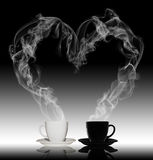 Love Relaxation Pleasure Angel Coffee Concept. With smoke, spoon, cup Royalty Free Stock Image