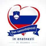 Love Republic of Slovenia, heart emblem: Dan samostojnosti in enotnosti. Love Republic of Slovenia, heart emblem. Flag of Slovenija with heart shape in national royalty free illustration