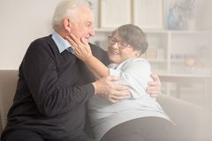 Love in retirement home. Between two happy seniors stock images