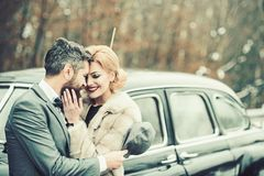 Love of retro couple outdoor. love and romance concept. royalty free stock photos