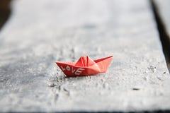 Love retro idea, the inscription on a paper boat Royalty Free Stock Photography