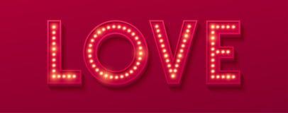 Love Retro light banner. Valentines card. Vector illustration Stock Image