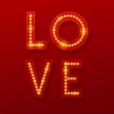 Love Retro light banner. Valentines card. Vector illustration Stock Photography