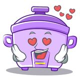 In love rice cooker character cartoon Stock Photos