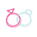 Love rings. Simple wedding or engagement rings illustration royalty free illustration