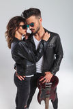 In love rock and roll couple with electric guitar Royalty Free Stock Photos