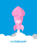 Love rocket. Pink Rocket with heart. Space transport flies.  Stock Photography