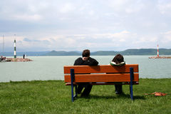 Love And Romance. They watching the view of lake balaton in hungary. Love And Romance. Happy Couple Stock Photos