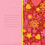Love and romance. Bright background with flowers, stars and hearts. Vector illustration. EPS 10. Composition for scrapbook elements with empty space for text Stock Photo