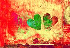 Love and romance. Creative art background. Heart painted on the wall royalty free stock photo