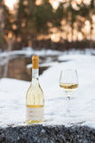Love, romance, holiday, New Year celebration concept. Bottle and glass of white wine chilled by snow in winter forest on Royalty Free Stock Photos