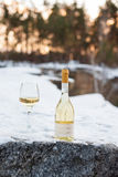 Love, romance, holiday, New Year celebration concept. Bottle and glass of white wine chilled by snow in winter forest on Stock Photos