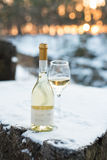 Love, romance, holiday, New Year celebration concept. Bottle and glass of white wine chilled by snow in winter forest on Royalty Free Stock Images